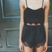 shorts,shirt,black,lace,top,black crop top,crop tops,cropped,crop,outfit,romper,dentelle,cute,short,cute top,cute outfits,style,tank top,jumpsuit,lace crop top,sexy,two-piece,two piece dress set,silk,black romper,black lace top