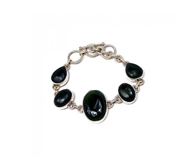 Unique 925 sterling silver Nafed Jade Bracelet