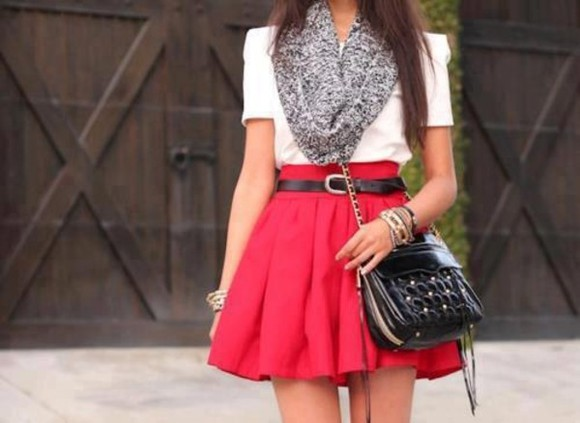 skirt bangles scarf clothes outfit