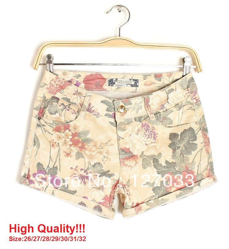 High Quality! 2013 Summer Brand Flower Pattern Printed Cotton Denim Brand Flower Pattern Printed Casual Women Shorts KH6280-inShorts from Apparel & Accessories on Aliexpress.com
