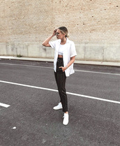 pants,black pants,stripes,striped pants,jacket,vest,t-shirt,white t-shirt,sneakers,white sneakers,low top sneakers,sunglasses,crop tops,white crop tops