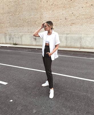 pants black pants stripes striped pants jacket vest t-shirt white t-shirt sneakers white sneakers low top sneakers sunglasses crop tops white crop tops
