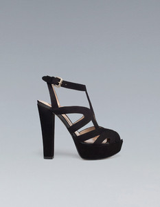 b94a698333a8 Gorgeous Zara High Heel Black Platform Sandals Leather Shoes ...