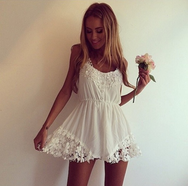 dress clothes floral white dress lace dress cute dress summer