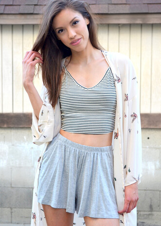shorts tank top kimono cardigan grey shorts