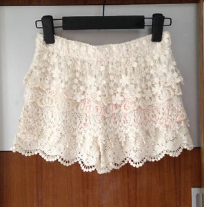 Women Gorgeous Crochet Floral Tiered Lace Shorts Pants Mini Skort Skirt s M L Z1 | eBay