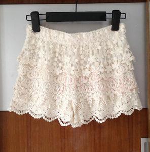 Women Gorgeous Crochet Floral Tiered Lace Shorts Pants Mini Skort Skirt s M L Z1   eBay