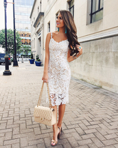 southern curls and pearls,blogger,shoes,white dress,lace dress,white bag,chanel,thick heel,sandals,sandal heels,jewels,jewelry,white lace dress,midi dress,chanel bag,high heel sandals,nude sandals,block heels,stacked wood heels