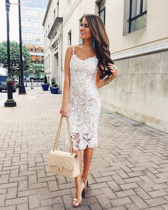 southern curls and pearls blogger shoes white dress lace dress white bag chanel thick heel sandals sandal heels jewels jewelry white lace dress midi dress chanel bag high heel sandals nude sandals