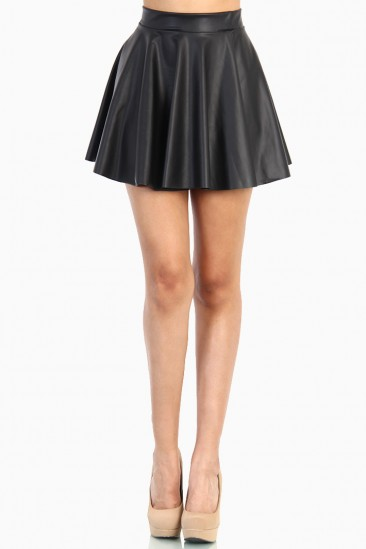 LoveMelrose.com From Harry & Molly | Plus Black Leather Skater Skirt