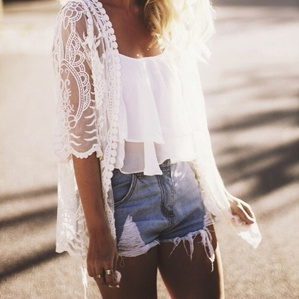 thin top kimono lace cardigan white top summer top white t-shirt shirt