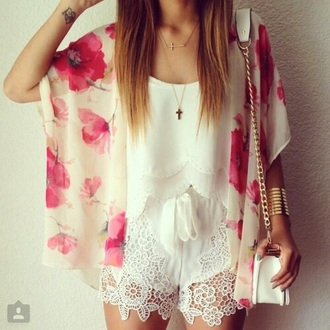 shorts pink flowers style white fashion girly lovely cute shorst jacket jewels bag top