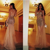dress,tidetell dress,sheer prom dress,prom dress,long prom dress,beaded prom dress,gold bead,prom dresss with crystal,see through,sheer,sexy prom dress,criss cross