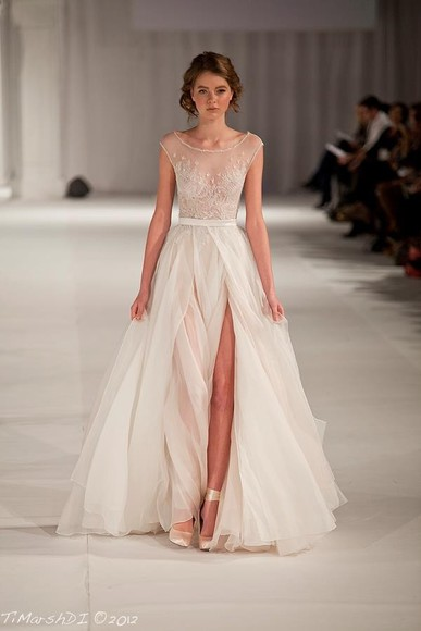 dress white runway sheer wedding dress wedding sparkles sparkle sparkly slit ivory sleeve ivory dress slit dress sparkling dress ruffles elegant gorgeous illusion neckline chiffon shoes beading prom long dress