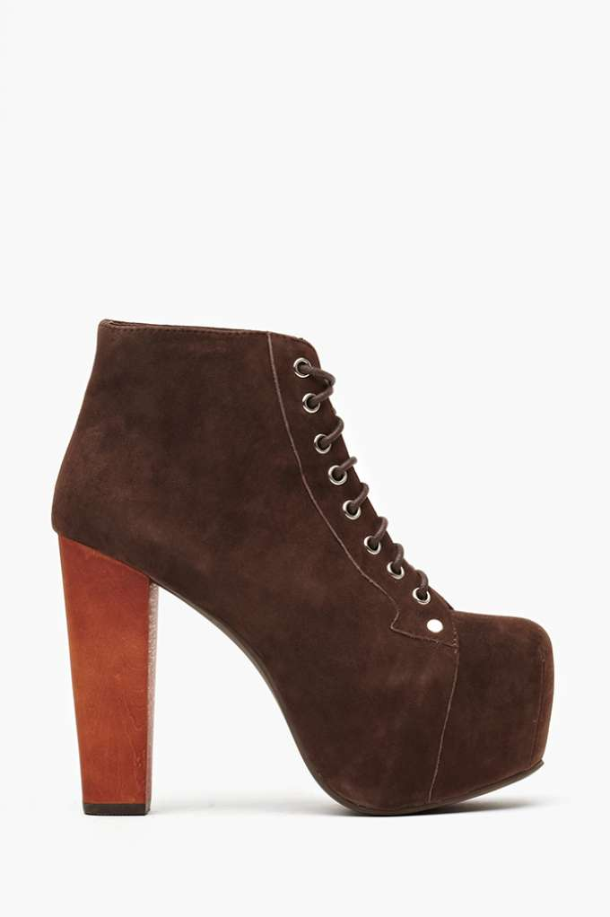 Jeffrey Campbell Lita Platform Boot - Brown Suede  in  Shoes at Nasty Gal