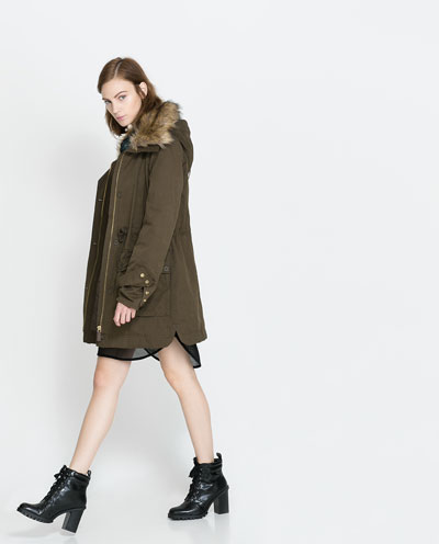 parka with fur collar coats trf zara canada. Black Bedroom Furniture Sets. Home Design Ideas