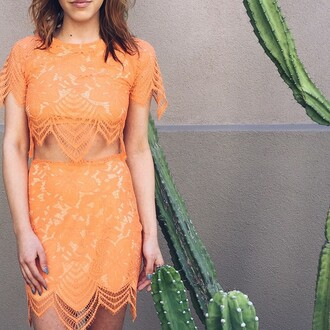 top for love & lemons summer trend matching set crop tops crop orange summer spring trendy 2015 summer trends matching skirt and top brunette lace bohemian style boho chic bohemian fashion