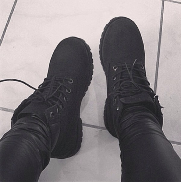 shoes black timberland boots