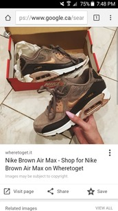 shoes,nike shoes women,gold,brown,grey,nike,air max,low top sneakers