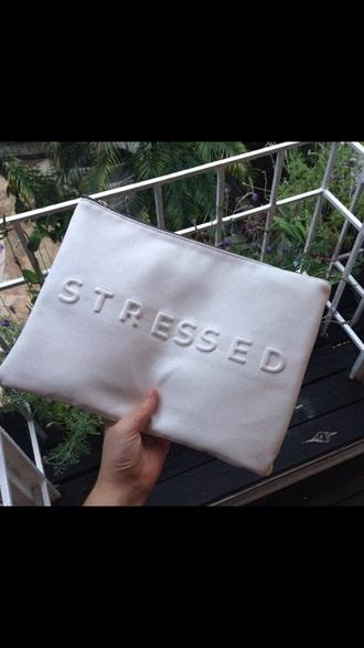 bag clutch white stressed bag