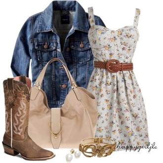 dress floral flowers pretty indie belt denim denim jacket cute dress cute boots bag purse beige country style