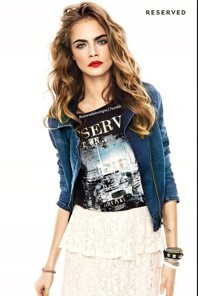 cara delevingne skirt top casual jean jackets jacket t-shirt black white lace denim jewels