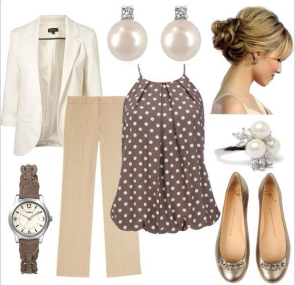 white blazer blouse polka dot tan pleated bubble shirt khaki pants pearl earrings