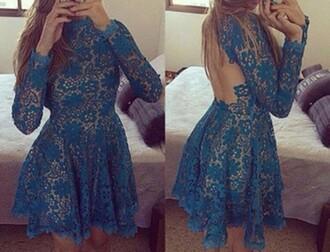 dress blue dress lace dress homecoming dress open back dresses mesh make-up high heels sneakers