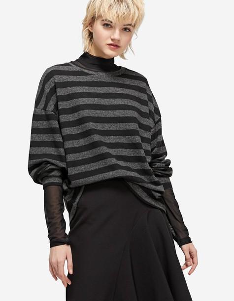 Stradivarius t-shirt shirt striped t-shirt t-shirt dark grey top