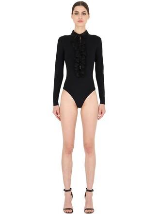 bodysuit satin black underwear