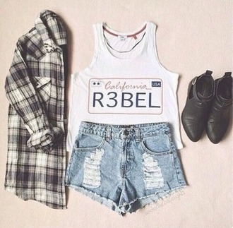 tank top shoes top rebel shirt cool cute girly outfit jeans shorts jewels