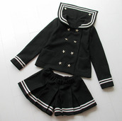 jacket,sailor,black,shorts,stripes,kawaii,cute,asian,asian fashion,japanese fashion,japan,jumpsuit
