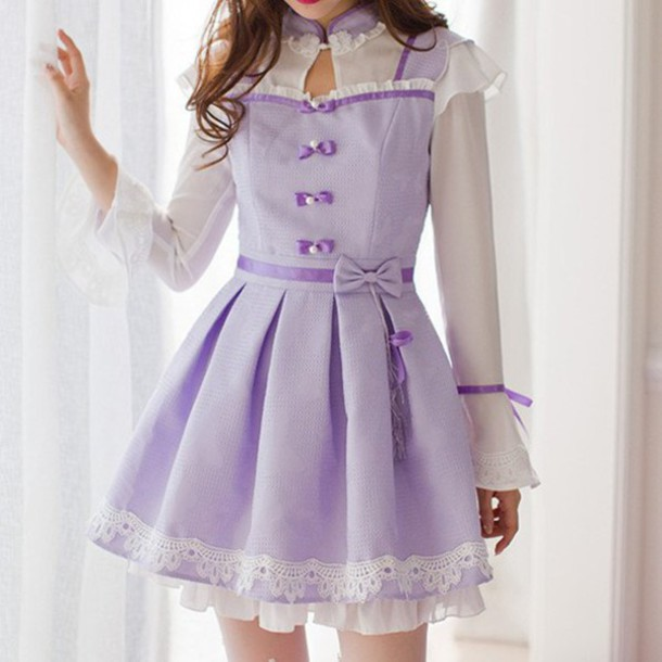 Dress: kawaii, cute, bow, bow dress, korean fashion ...