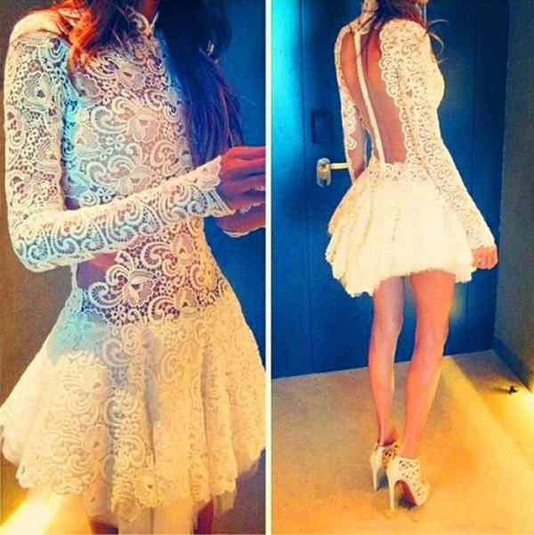 Wholesale Homecoming Dresses - Buy Elegant Lace High Neck Short Homecoming Dresses See Through Covered Button Back Appliques Long Sleeve Evening Gowns Little White Dress, $100.53 | DHgate