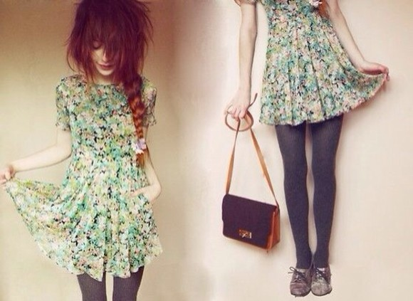 dress nadia esra blue dress cute floral dress summer dress, pretty girly things braid hipster
