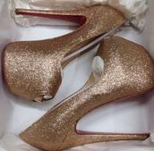 shoes,prom,gold heels,gold,box,golden high heels,platform heels,peep toe heels