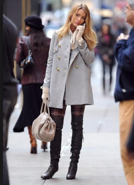 coat grey coat blake lively serena van der woodsen blue coat gossip girl
