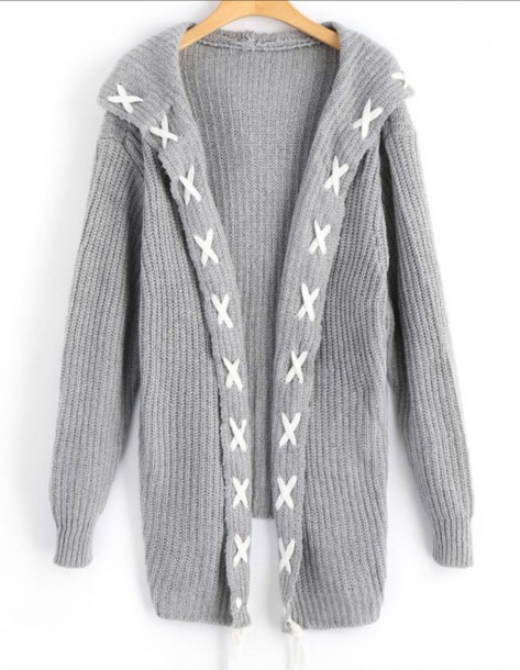 cardigan girly grey knit knitted cardigan long long cardigan