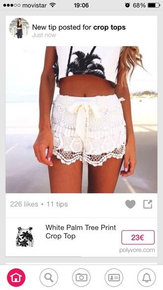 shorts white lace bow