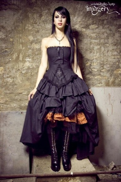 dress ball gown gothic vampiric dark fancy knee high boots lace up