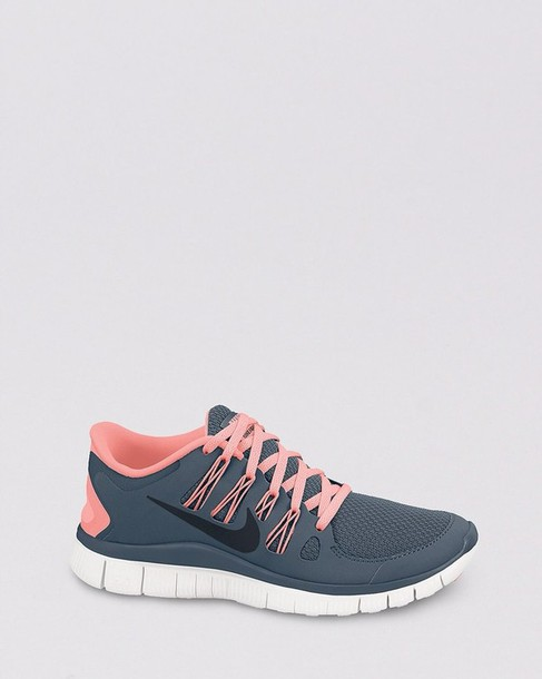 huge discount bd1f1 639c3 shoes nike nike free run coral salmon grey grey nike running shoes nike  free run sneakers