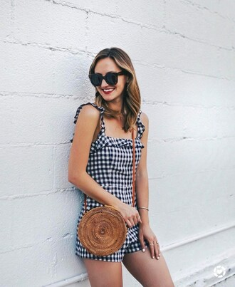 romper tumblr gingham bag round bag sunglasses ruffle