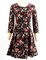 Full floral print trendy style round neck 3/4 sleeve women&#039s dress (as the picture,l)