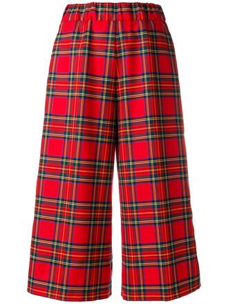 women spandex wool tartan red pants