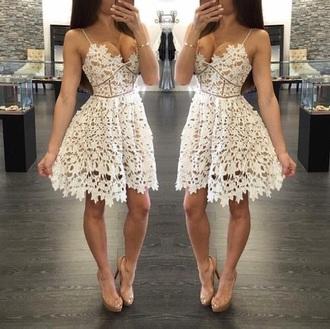 dress white dress short dress nude
