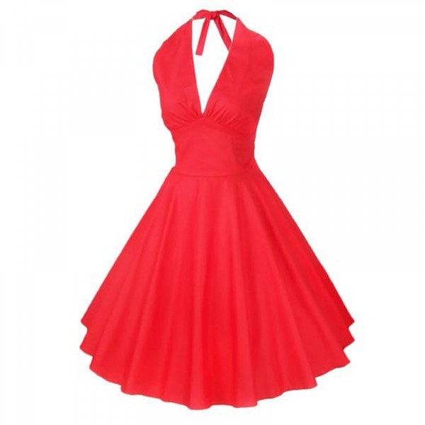 Buy Halter 50s Vintage Style Red  Black Sexy Mini Cocktail Party ... a763e4c18