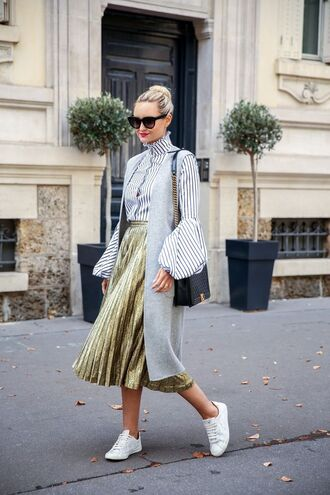 skirt black and white striped shirt gold pleated skirt grey sleeveless blazer white sneakers
