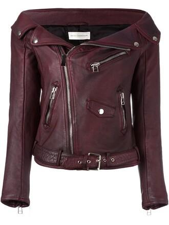 jacket biker jacket sailor red