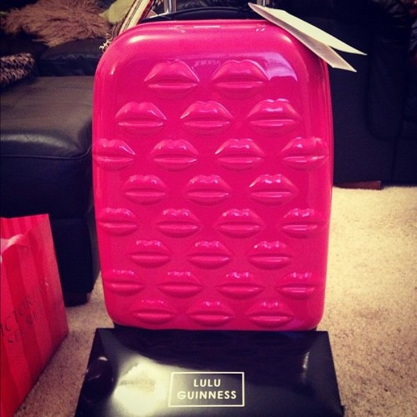 Bag: suitcase, pink, luggage, lips, kiss, hot pink, love - Wheretoget