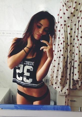crop tops t-shirt sexy rebel brunette shirt iphone 5s 32 fitness